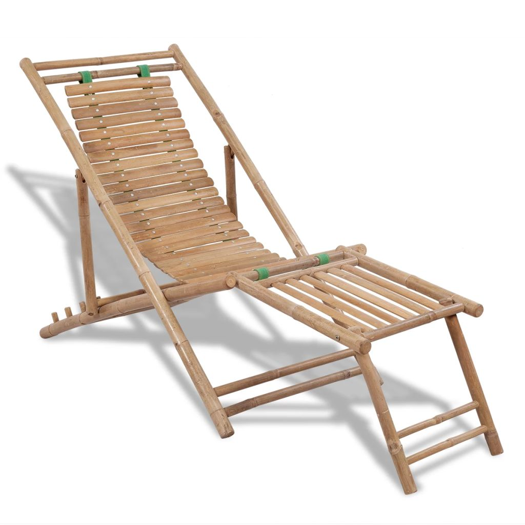 Outdoor Deck Chair with Footrest Bamboo 1