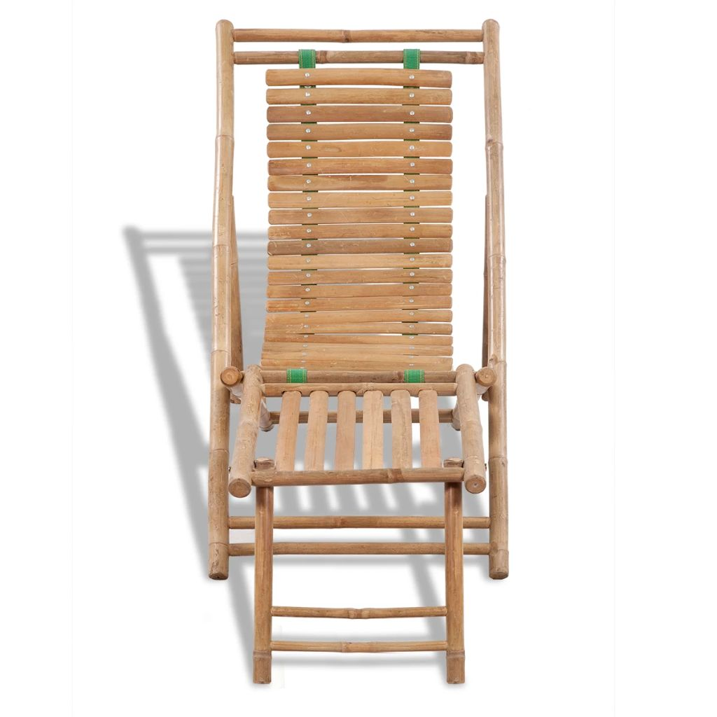 Outdoor Deck Chair with Footrest Bamboo 2