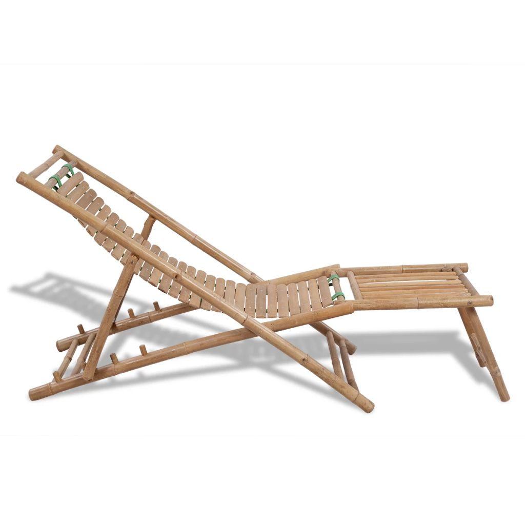 Outdoor Deck Chair with Footrest Bamboo 3