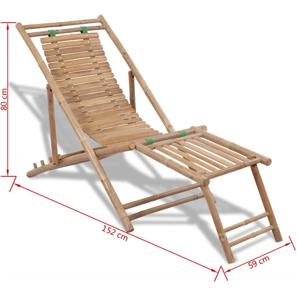 Outdoor Deck Chair with Footrest Bamboo 7