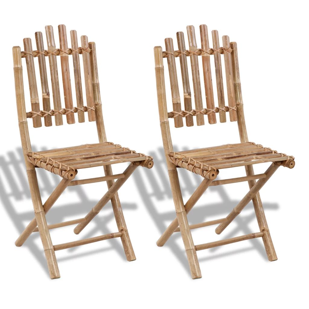 Folding Garden Chairs 2 pcs Bamboo 1