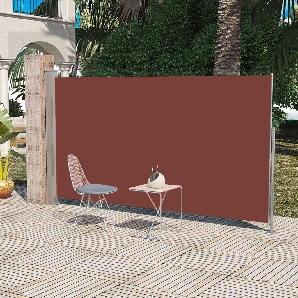 Patio Retractable Side Awning 160 x 300 cm Brown 1
