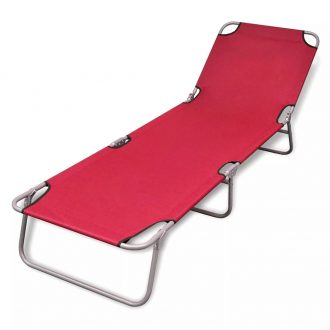 Folding Sun Lounger Powder-coated Steel Red 1
