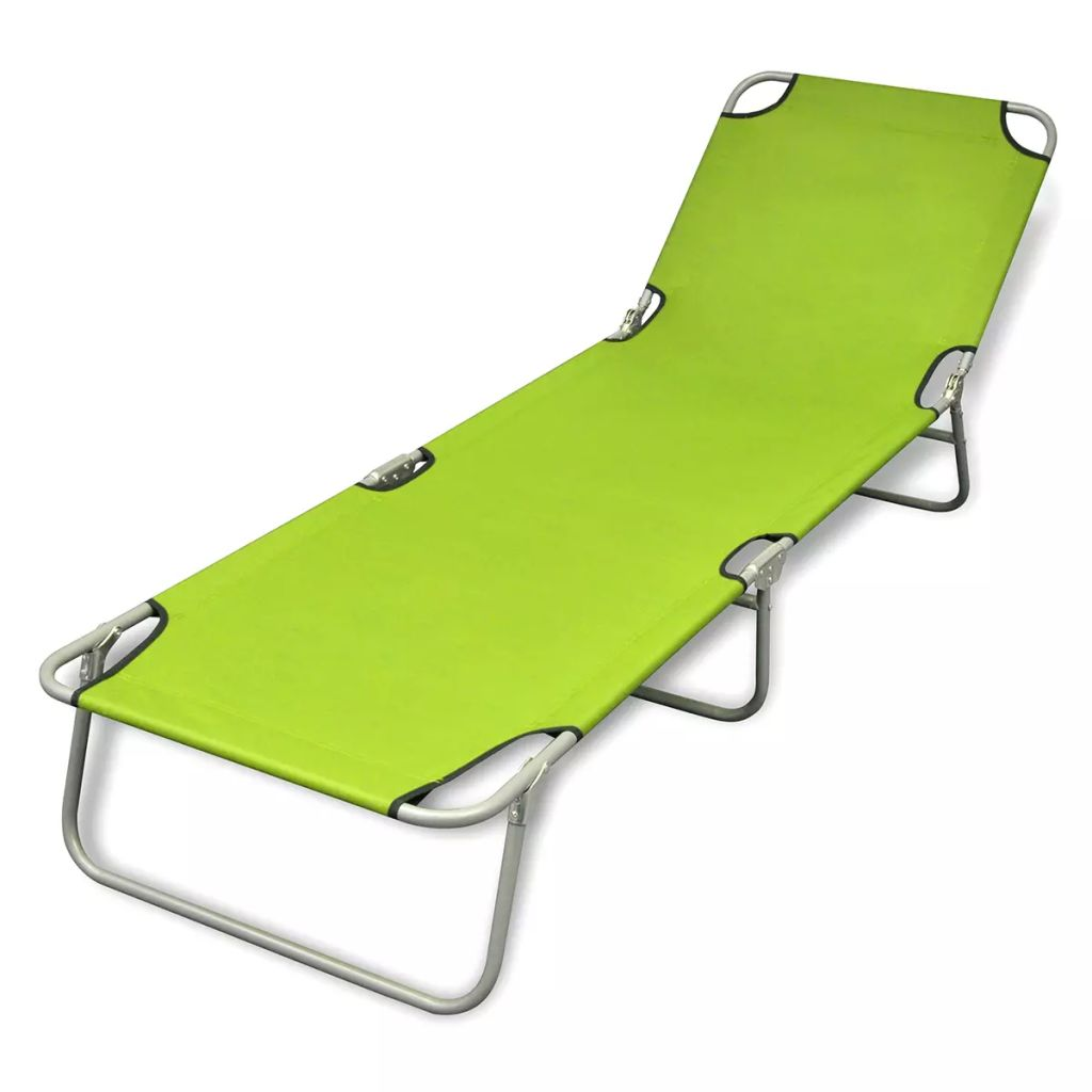 Folding Sun Lounger Powder-coated Steel Apple Green 1