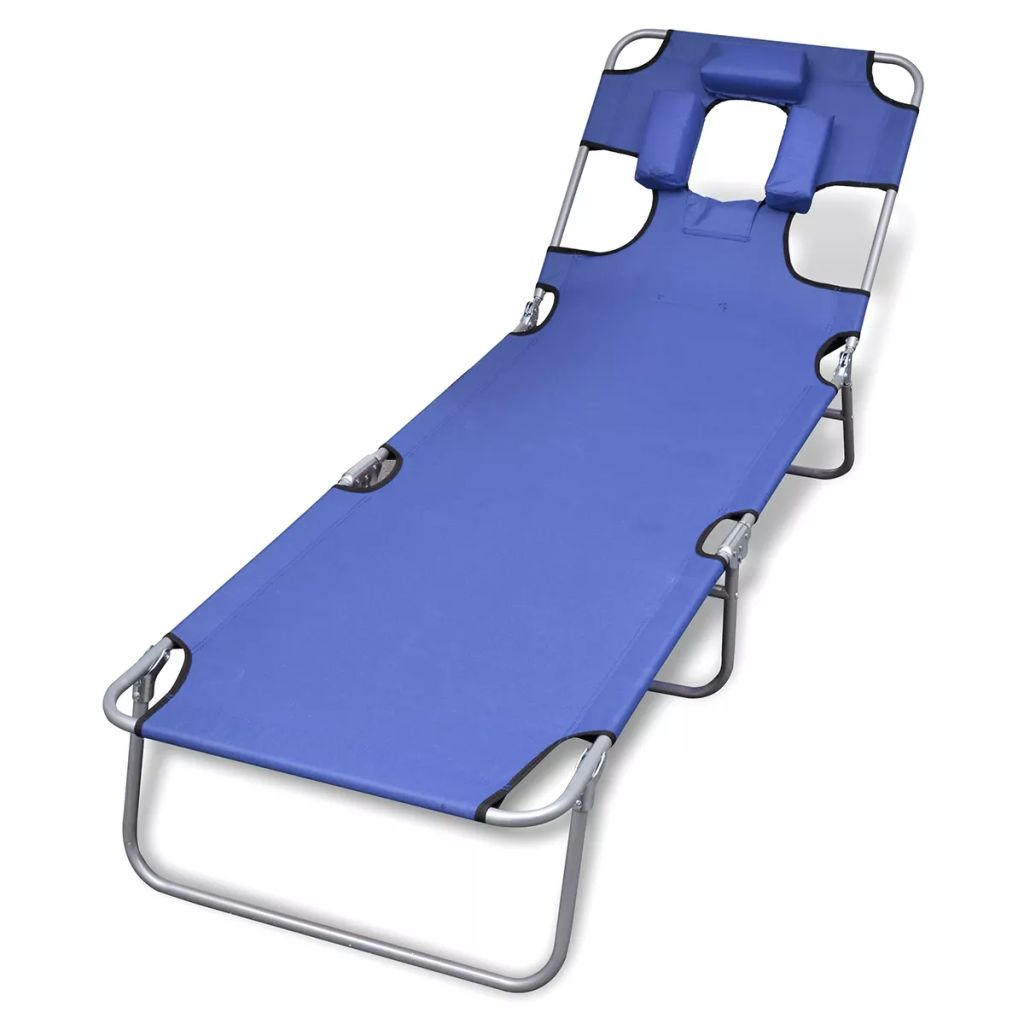 Folding Sun Lounger with Head Cushion Powder-coated Steel Blue 1