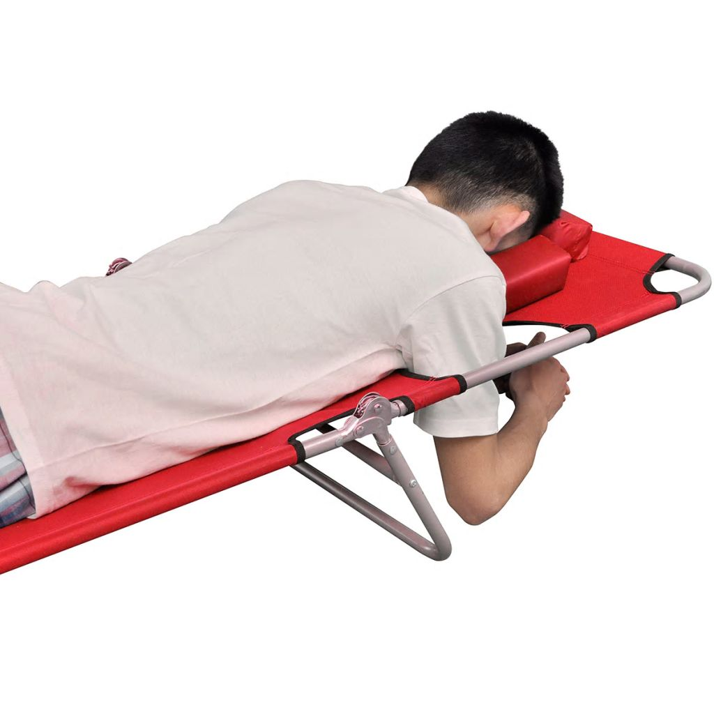 Folding Sun Lounger with Head Cushion Powder-coated Steel Red 2