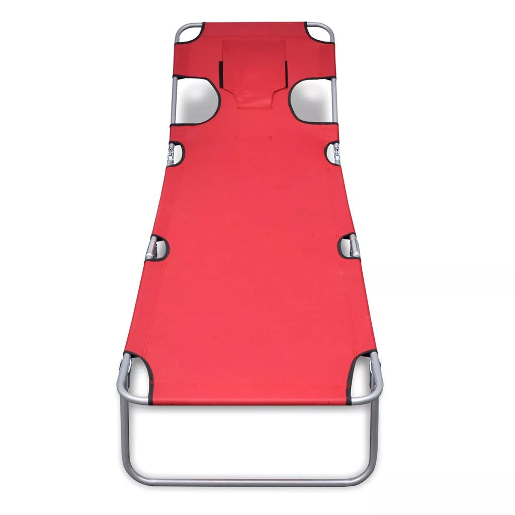 Folding Sun Lounger with Head Cushion Powder-coated Steel Red 3