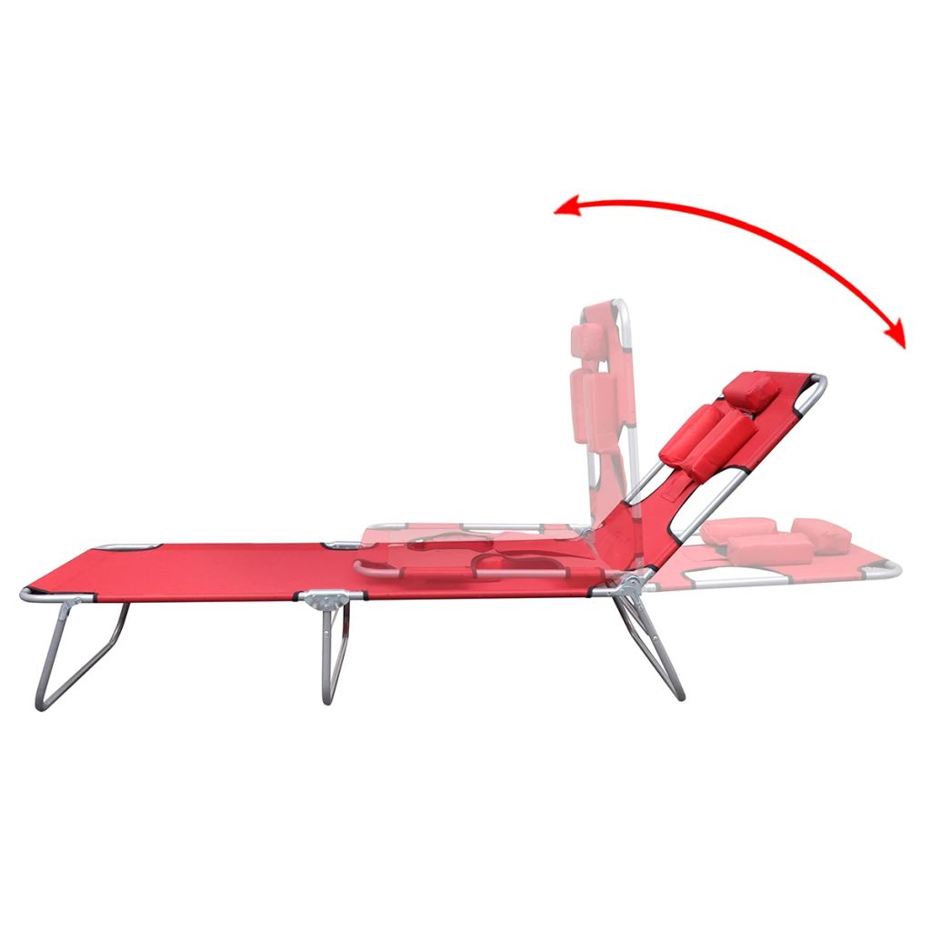 Folding Sun Lounger with Head Cushion Powder-coated Steel Red 4