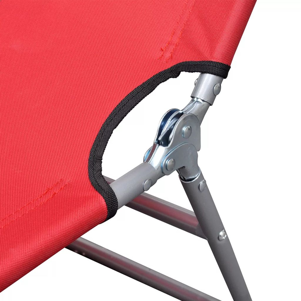 Folding Sun Lounger with Head Cushion Powder-coated Steel Red 5