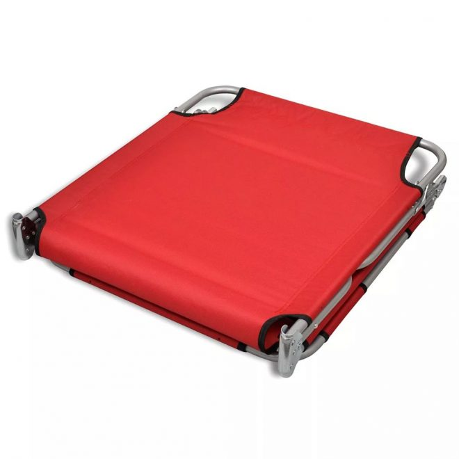 Folding Sun Lounger with Head Cushion Powder-coated Steel Red 6