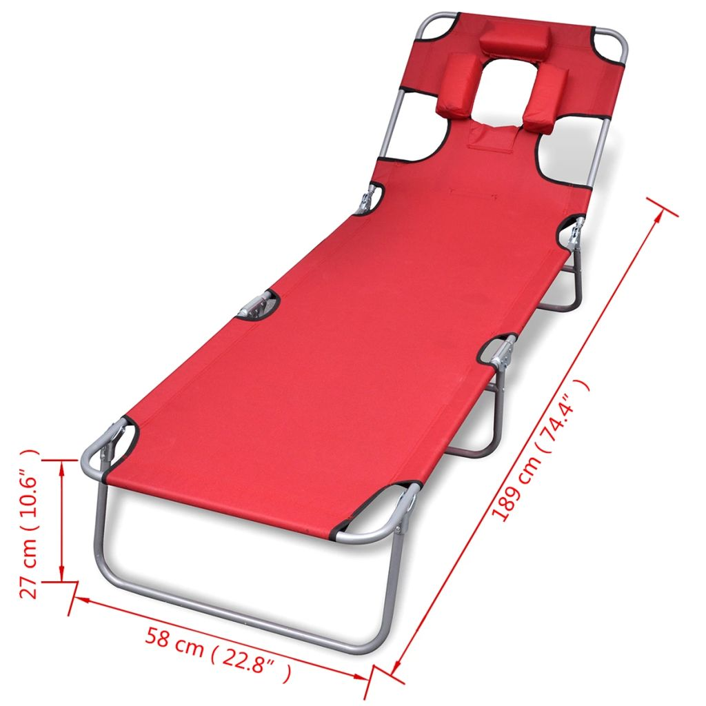 Folding Sun Lounger with Head Cushion Powder-coated Steel Red 7