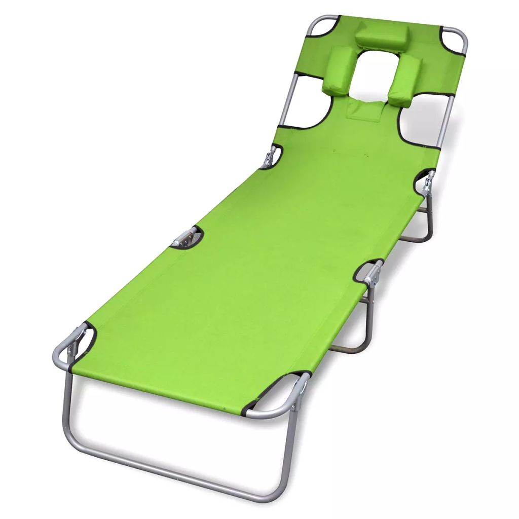 Folding Sun Lounger with Head Cushion Powder-coated Steel Green 1