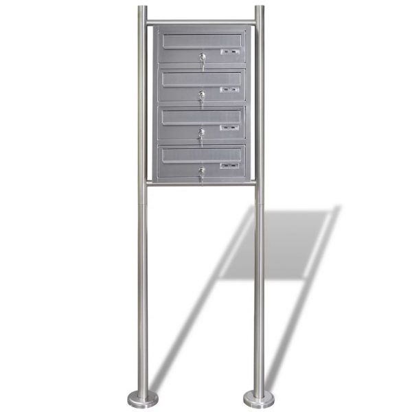 Quadruple Mailbox on Stand Stainless Steel 3