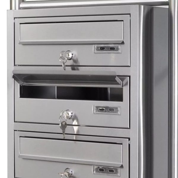 Quadruple Mailbox on Stand Stainless Steel 7