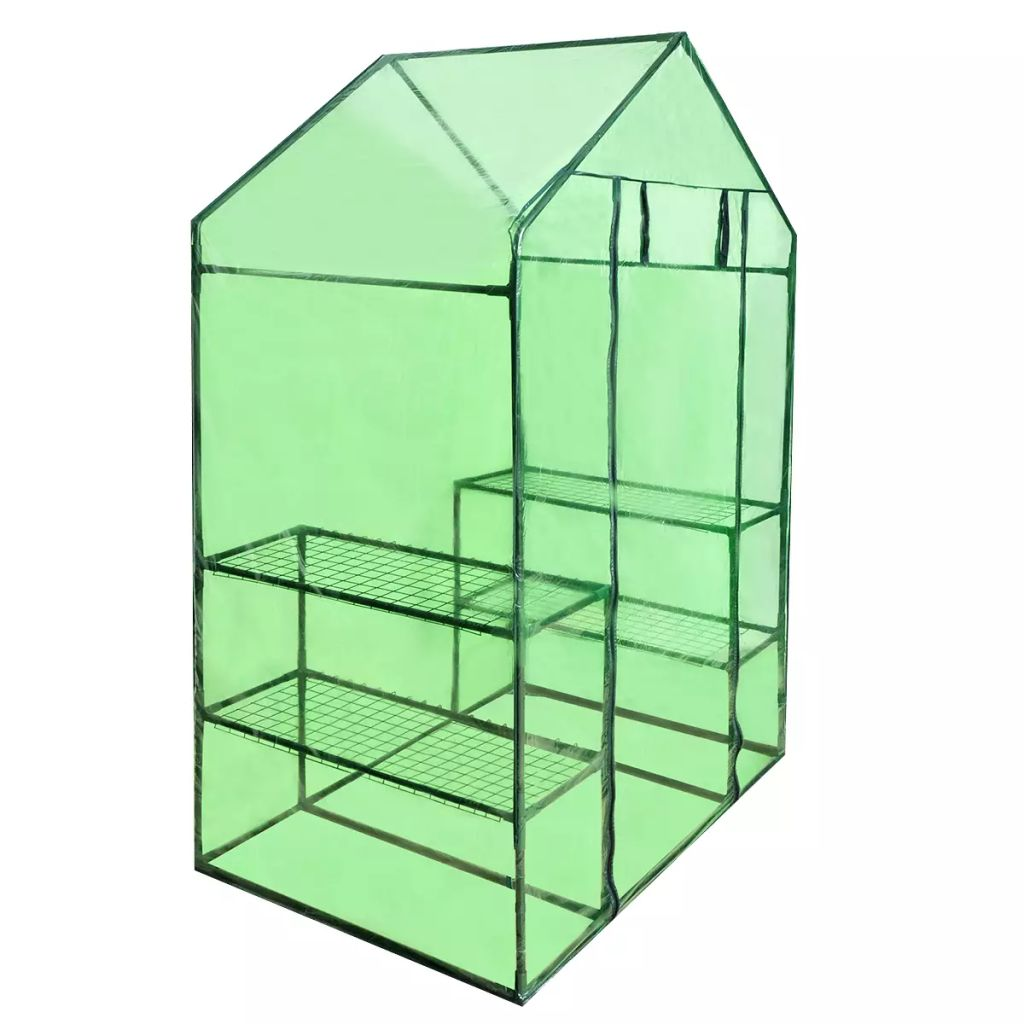 Walk-in Greenhouse with 4 Shelves 1