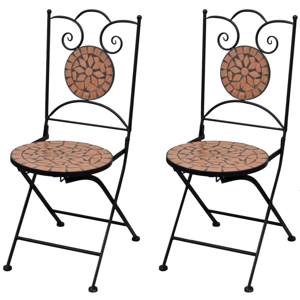 Folding Bistro Chairs 2 pcs Ceramic Terracotta 1