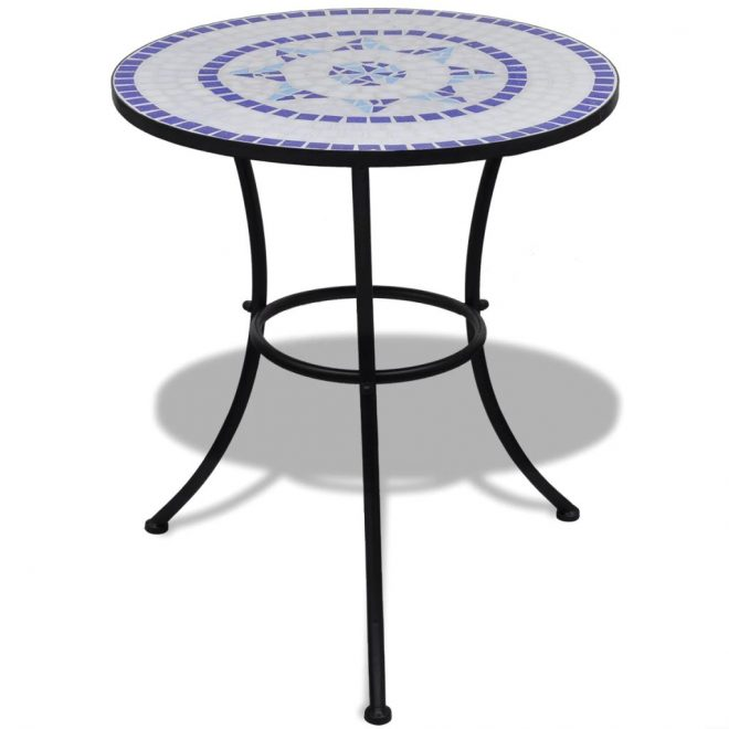 Bistro Table Blue and White 60 cm Mosaic 1
