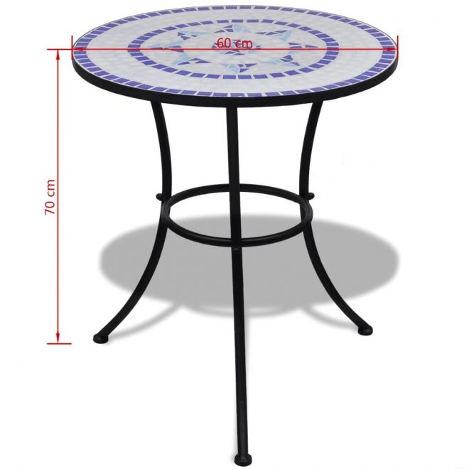 Bistro Table Blue and White 60 cm Mosaic 5