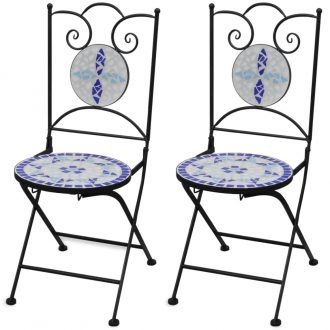 Folding Bistro Chairs 2 pcs Ceramic Blue and White 1