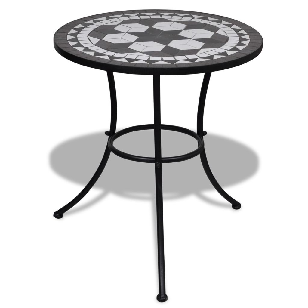 Bistro Table Black and White 60 cm Mosaic 1