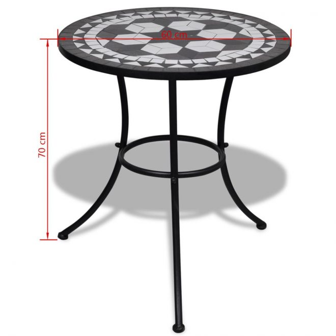 Bistro Table Black and White 60 cm Mosaic 5