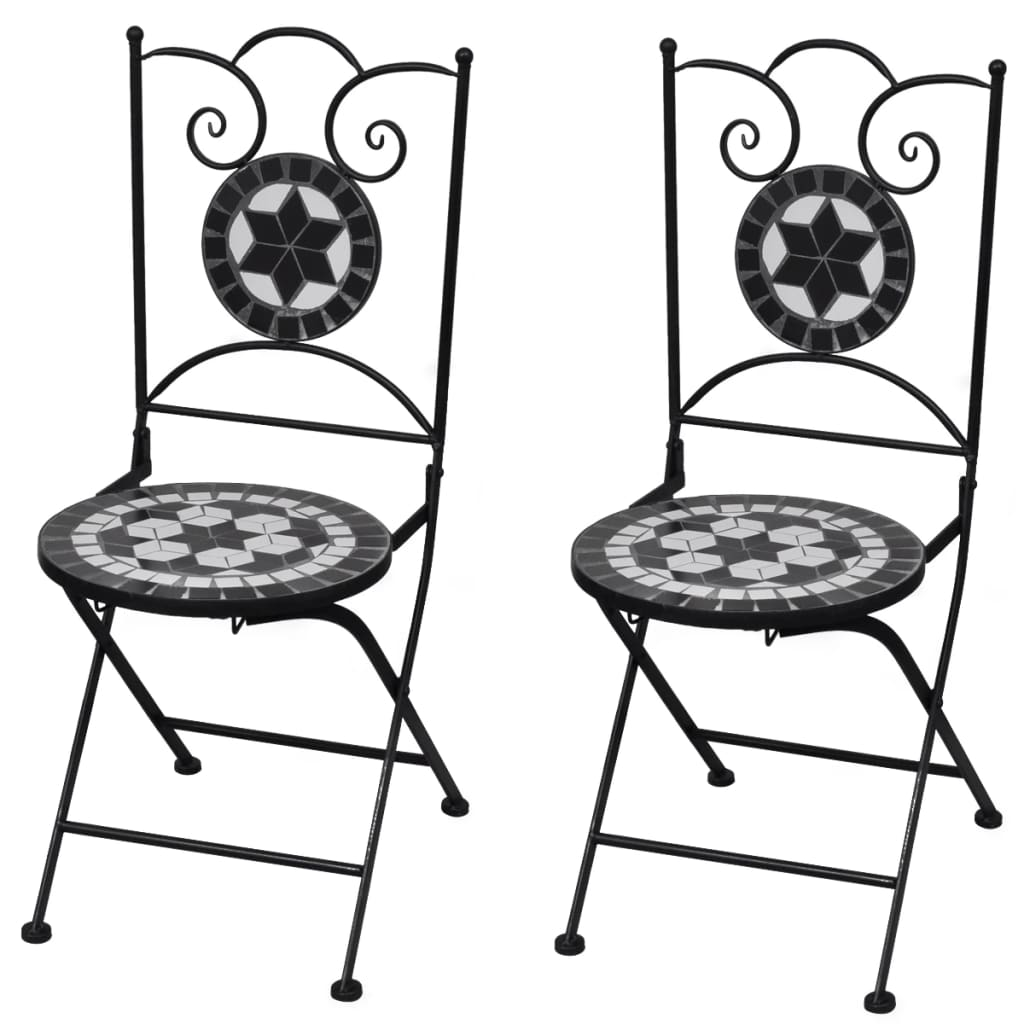 Folding Bistro Chairs 2 pcs Ceramic Black and White 1