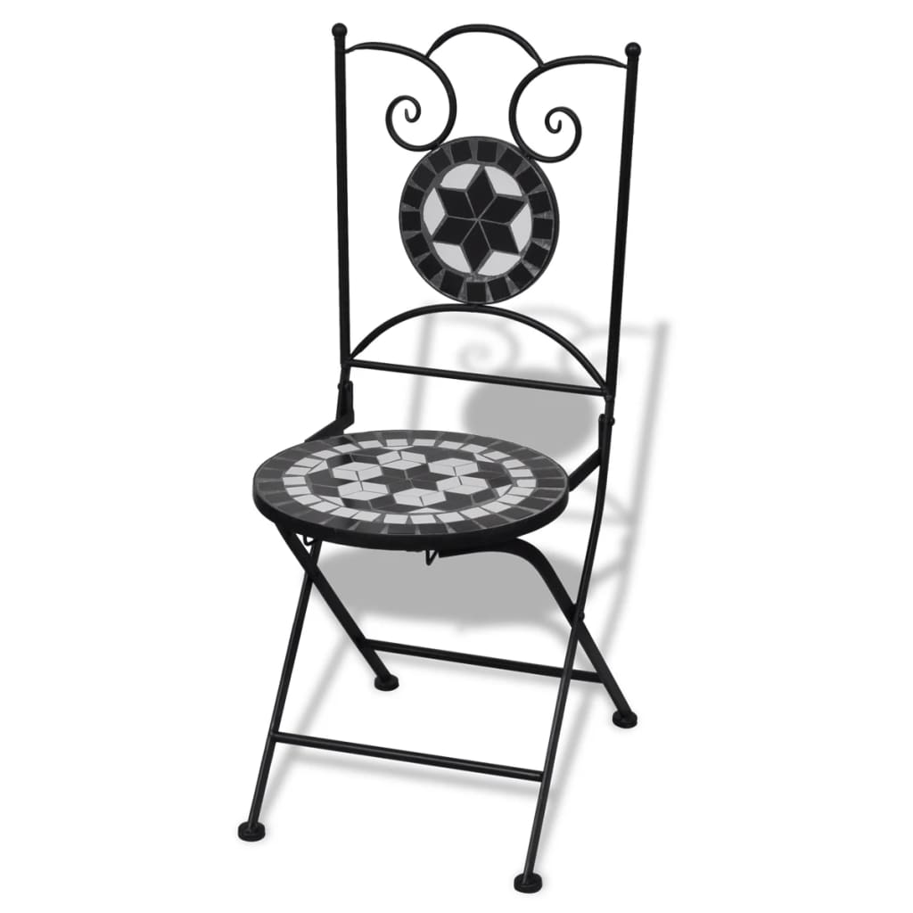 Folding Bistro Chairs 2 pcs Ceramic Black and White 2