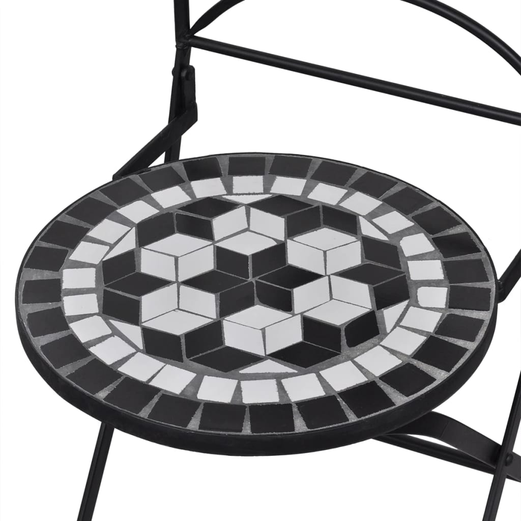 Folding Bistro Chairs 2 pcs Ceramic Black and White 4
