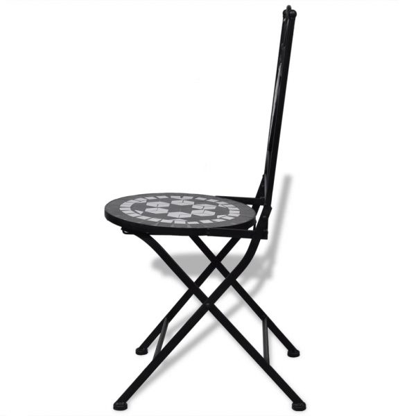 Folding Bistro Chairs 2 pcs Ceramic Black and White 5