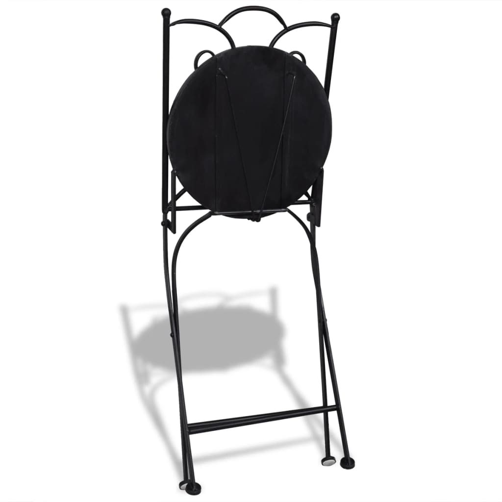 Folding Bistro Chairs 2 pcs Ceramic Black and White 6