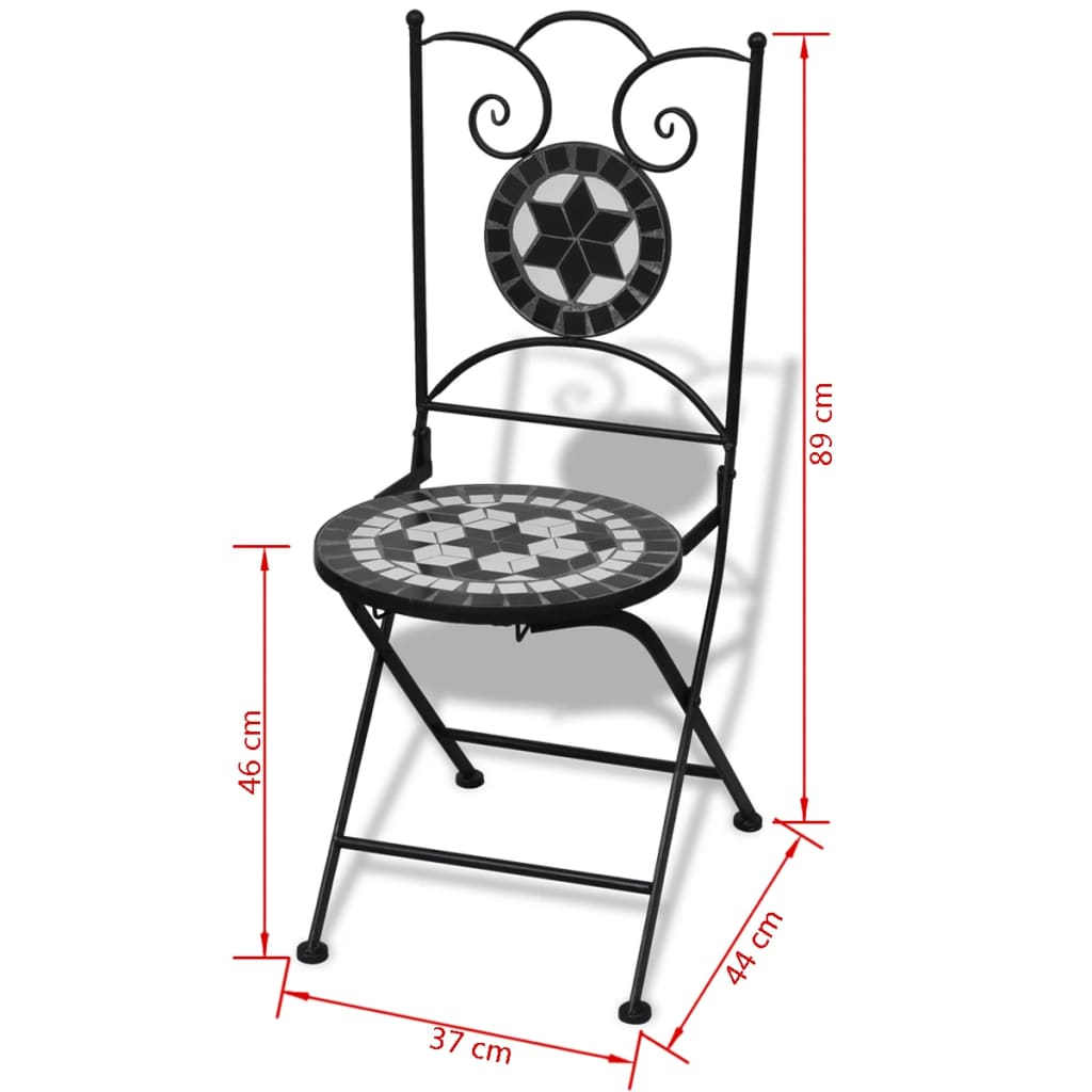 Folding Bistro Chairs 2 pcs Ceramic Black and White 7