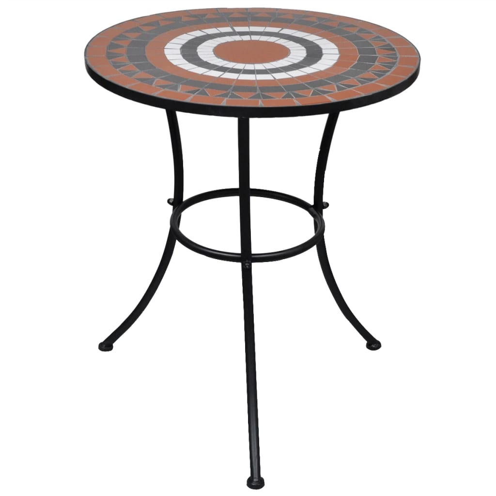 Bistro Table Terracotta and White 60 cm Mosaic 1