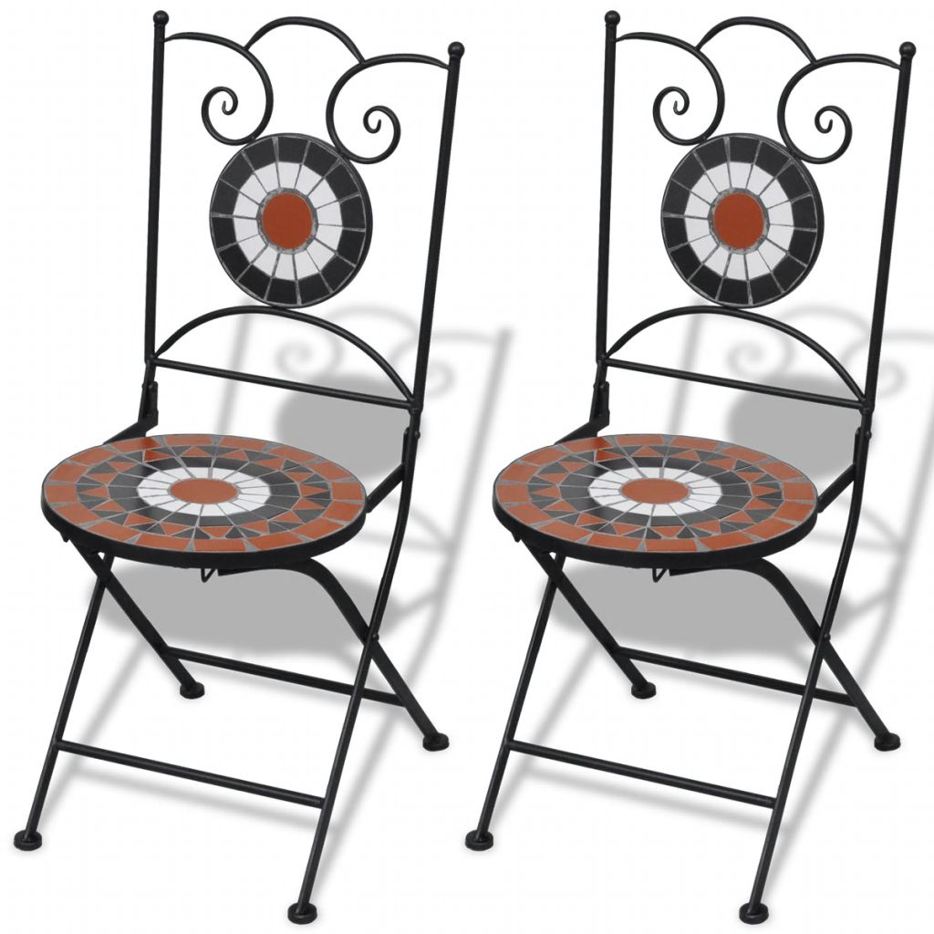 Folding Bistro Chairs 2 pcs Ceramic Terracotta and White 1