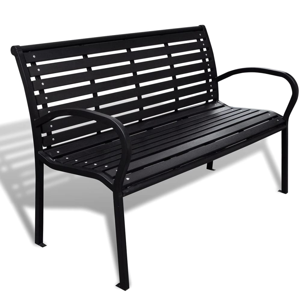 Garden Bench 125 cm Steel and WPC Black