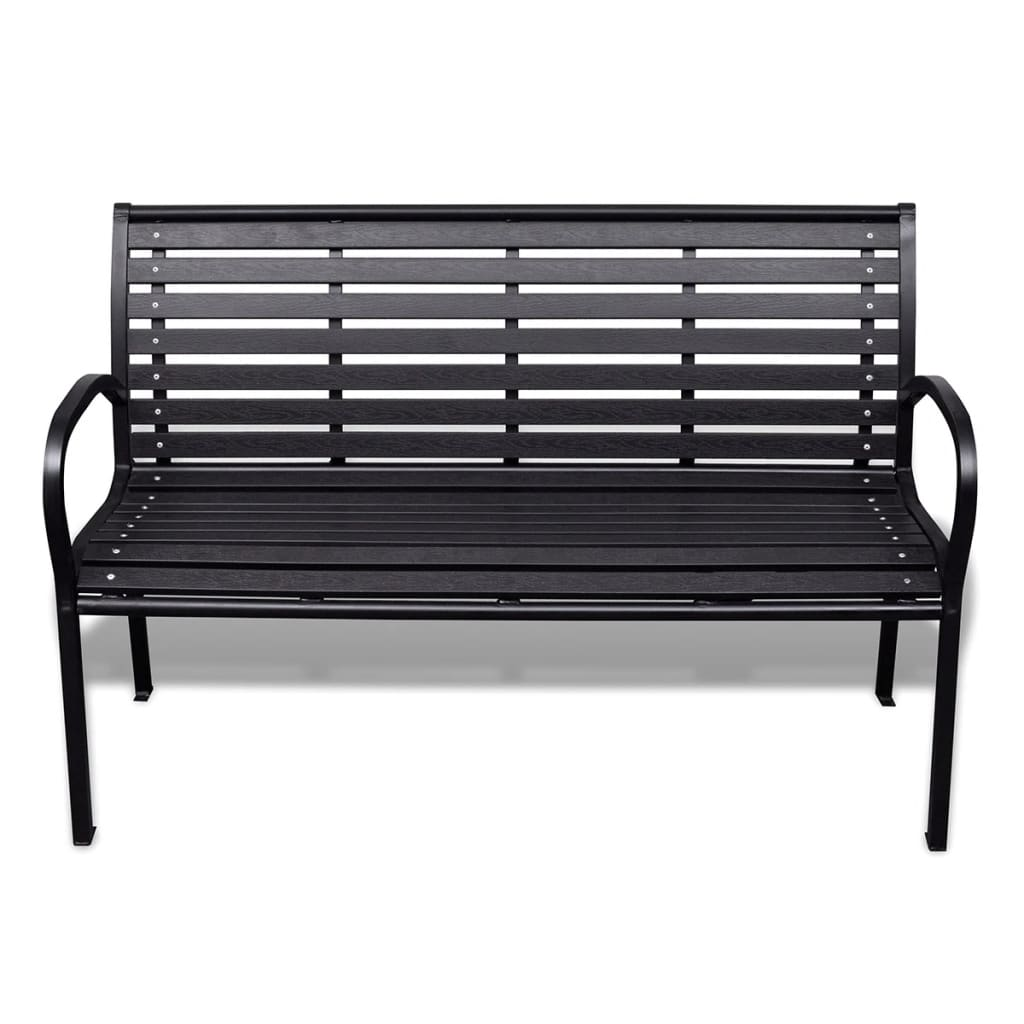 Garden Bench 125 cm Steel and WPC Black 2