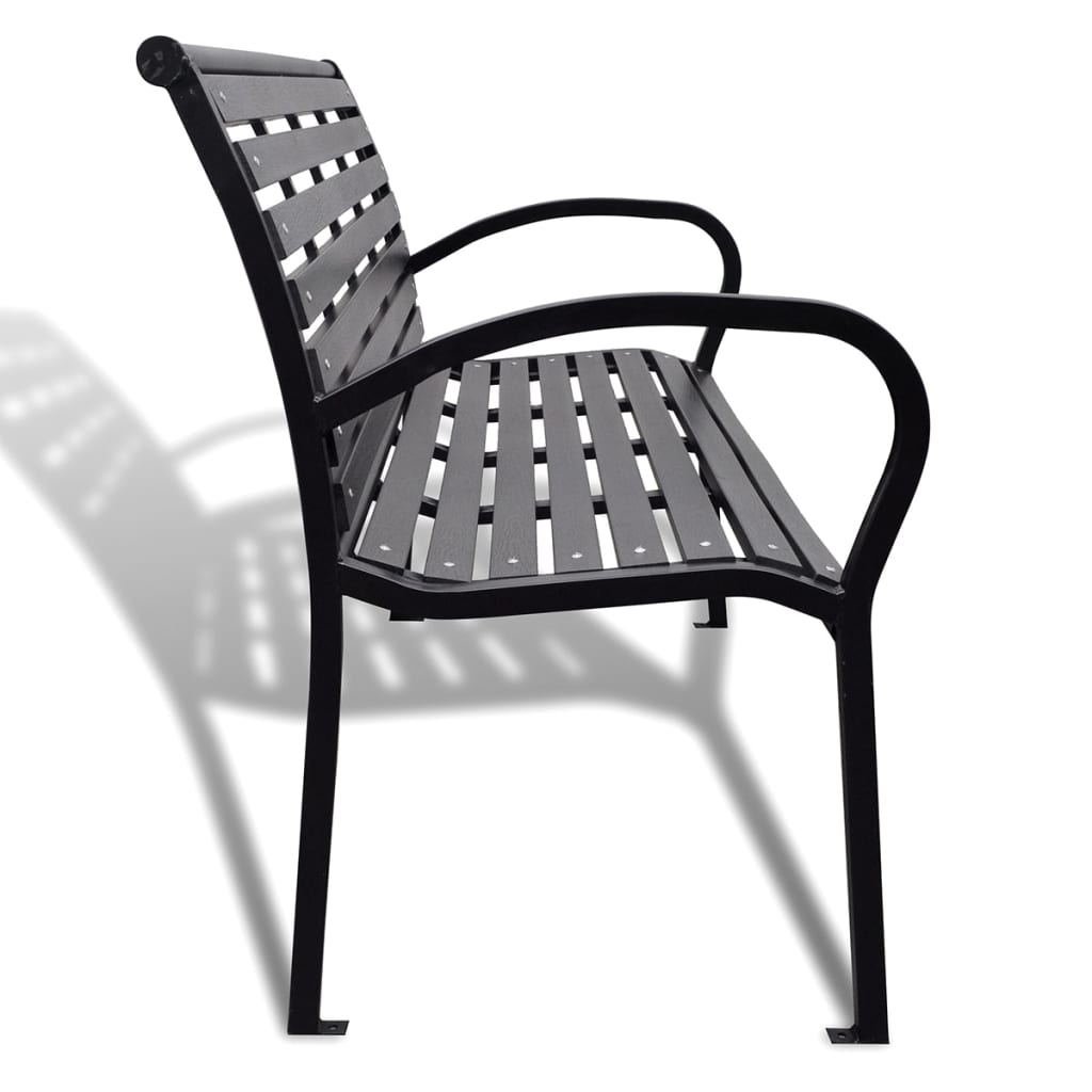 Garden Bench 125 cm Steel and WPC Black 4