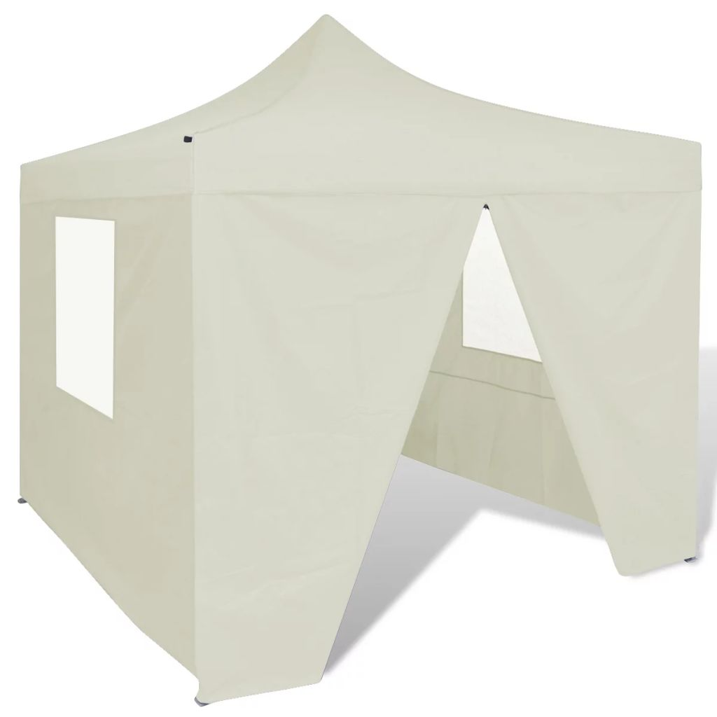 Foldable Tent 3x3 m with 4 Walls Cream