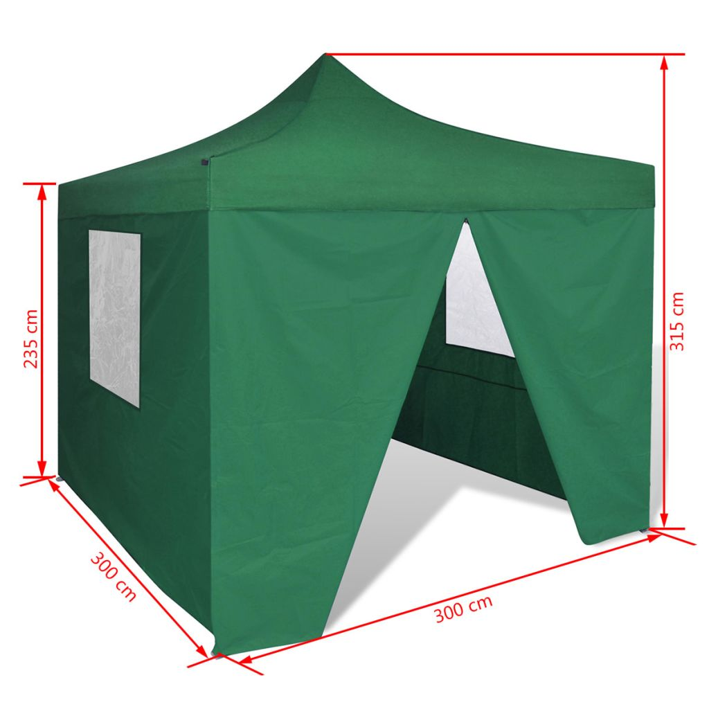 Foldable Tent 3×3 m with 4 Walls Green 11