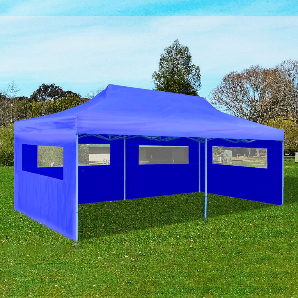 Blue Foldable Pop-up Party Tent 3 x 6 m 1