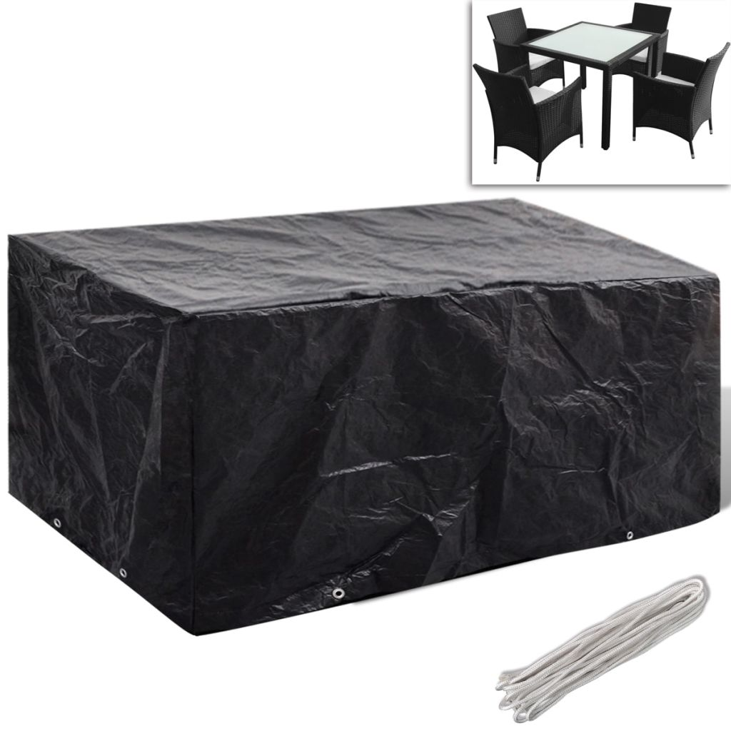 Garden Furniture Cover 4 Person Poly Rattan Set 8 Eyelets 180 x 140cm 1