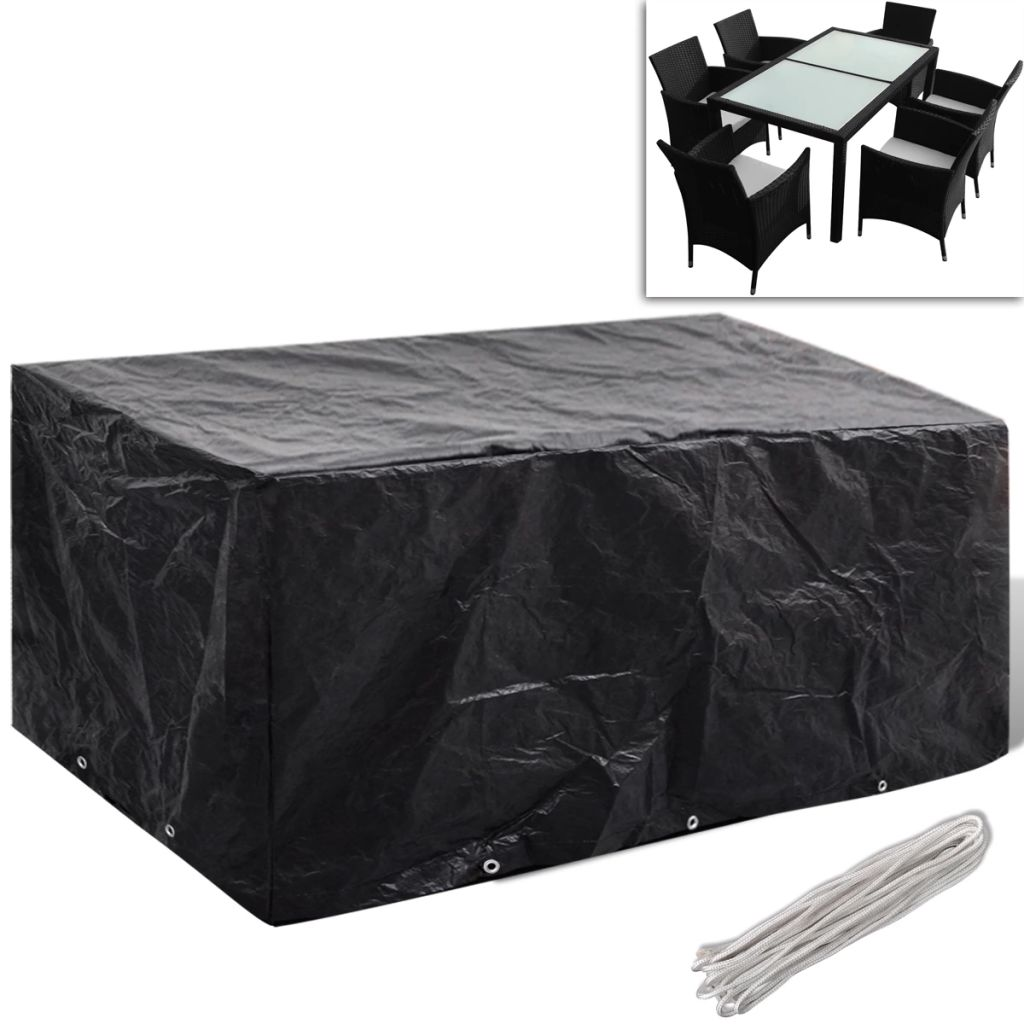 Garden Furniture Cover 6 Person Poly Rattan Set 10 Eyelets 240 x 140cm 1