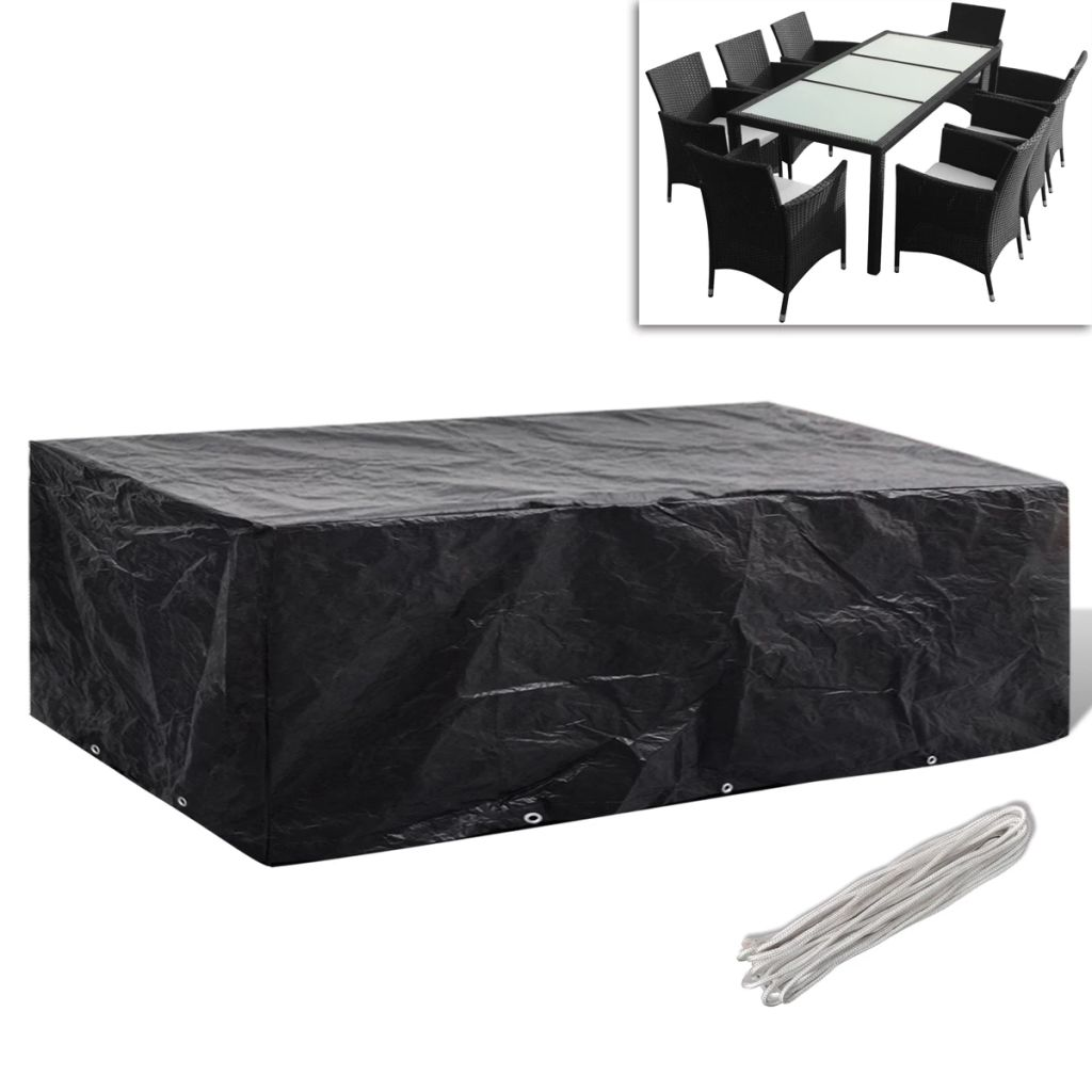 Garden Furniture Cover 8 Person Poly Rattan Set 10 Eyelets 300 x 140cm 1