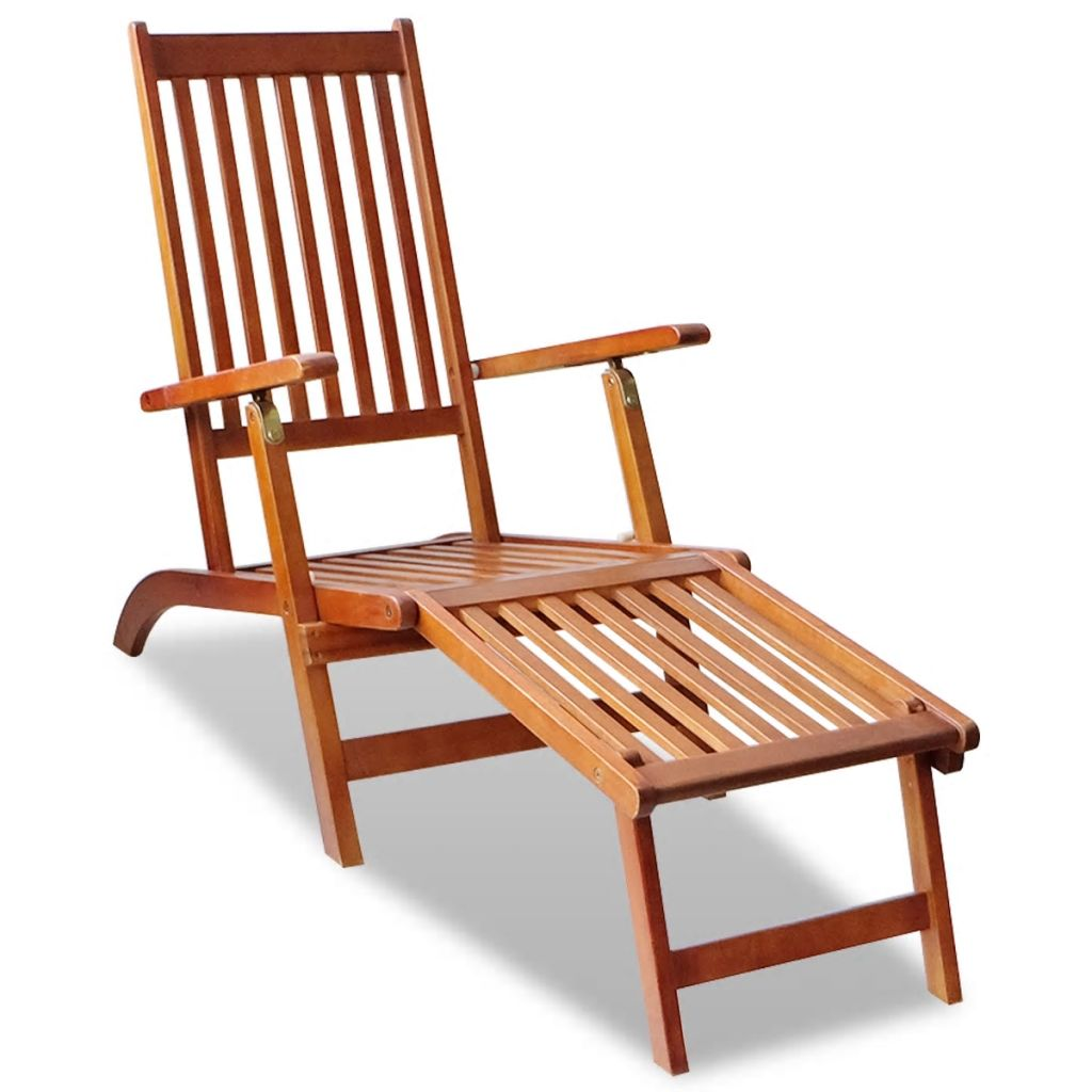 Outdoor Deck Chair with Footrest Solid Acacia Wood