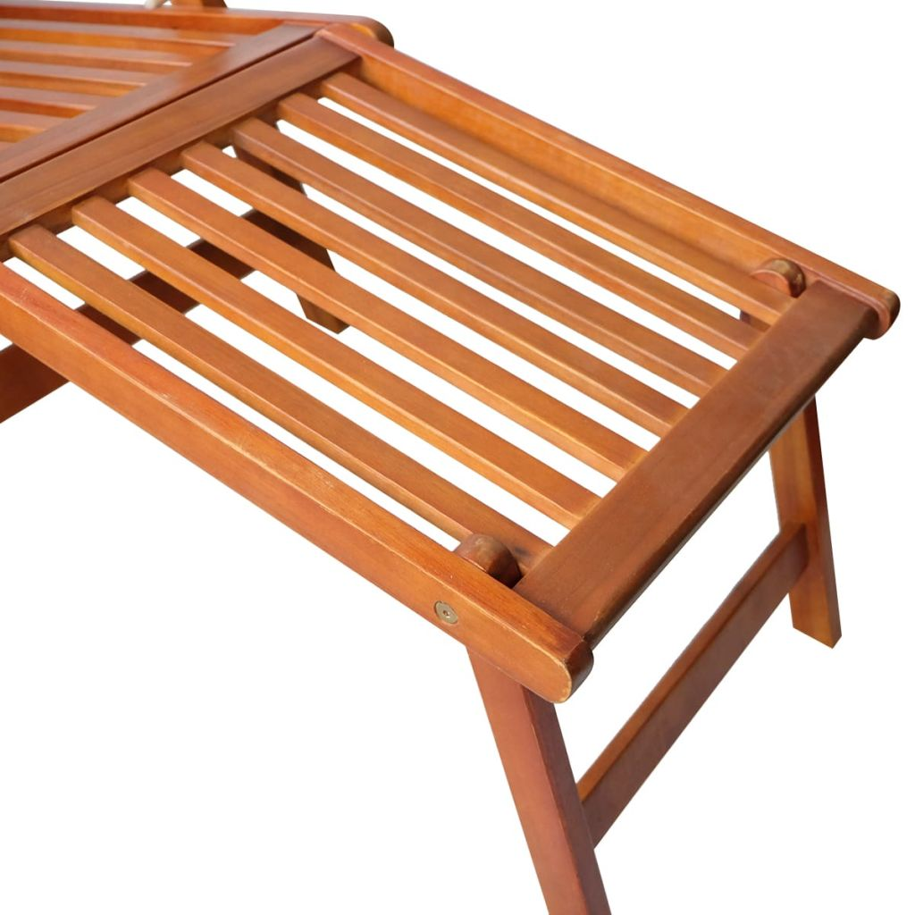 Outdoor Deck Chair with Footrest Solid Acacia Wood 5