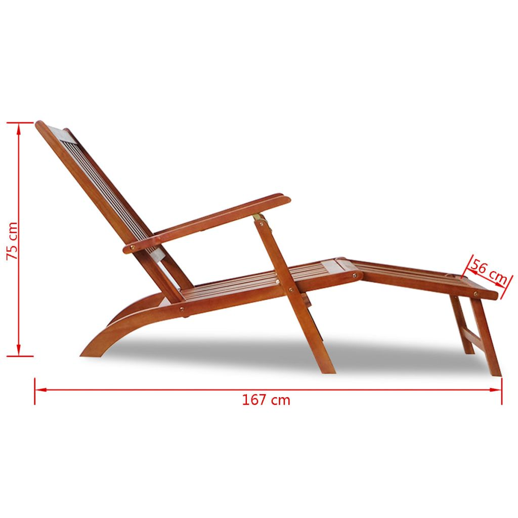 Outdoor Deck Chair with Footrest Solid Acacia Wood 7