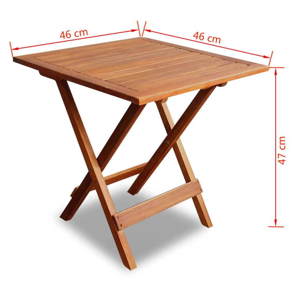 Bistro Table 46x46x47 cm Solid Acacia Wood 6