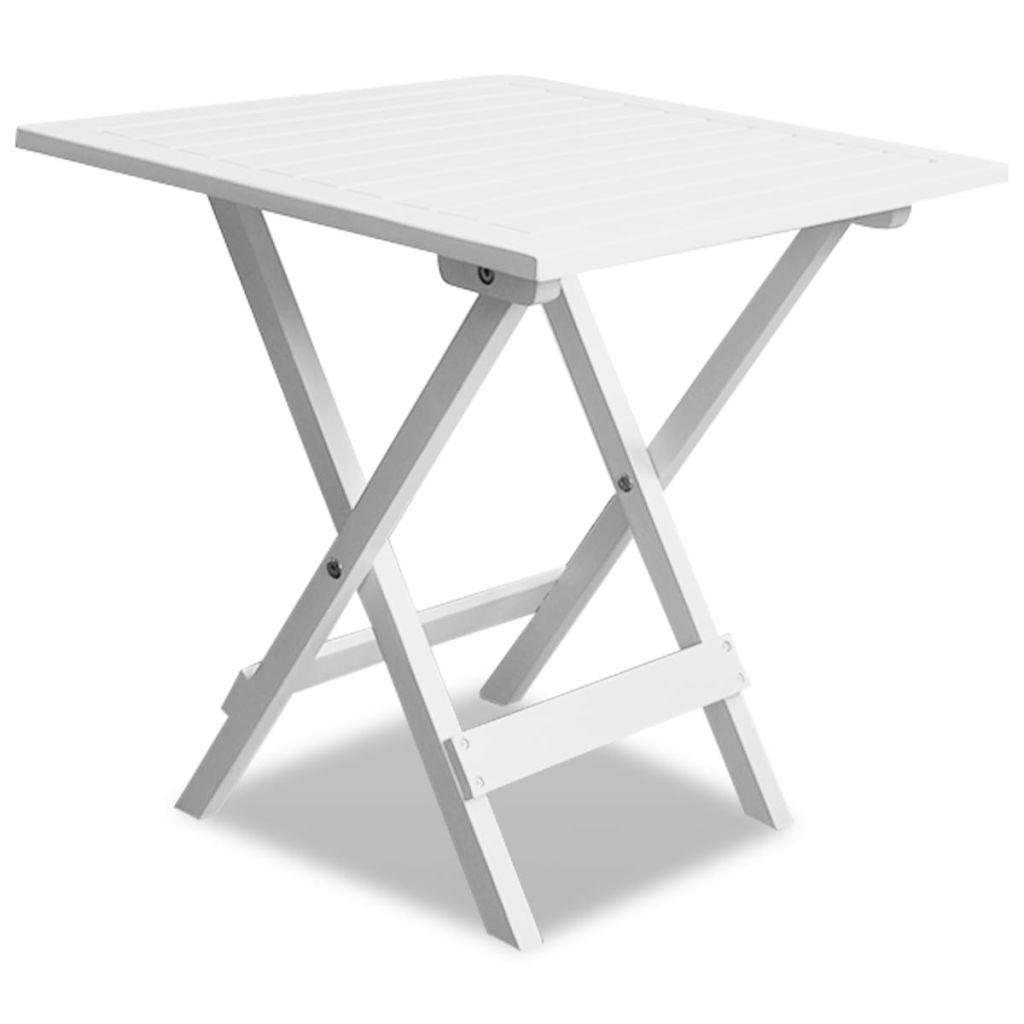 Bistro Table White 46x46x47 cm Solid Acacia Wood 1