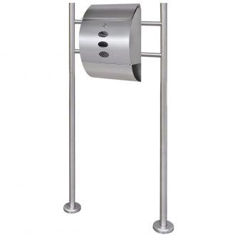 Mailbox on Stand Stainless Steel 1