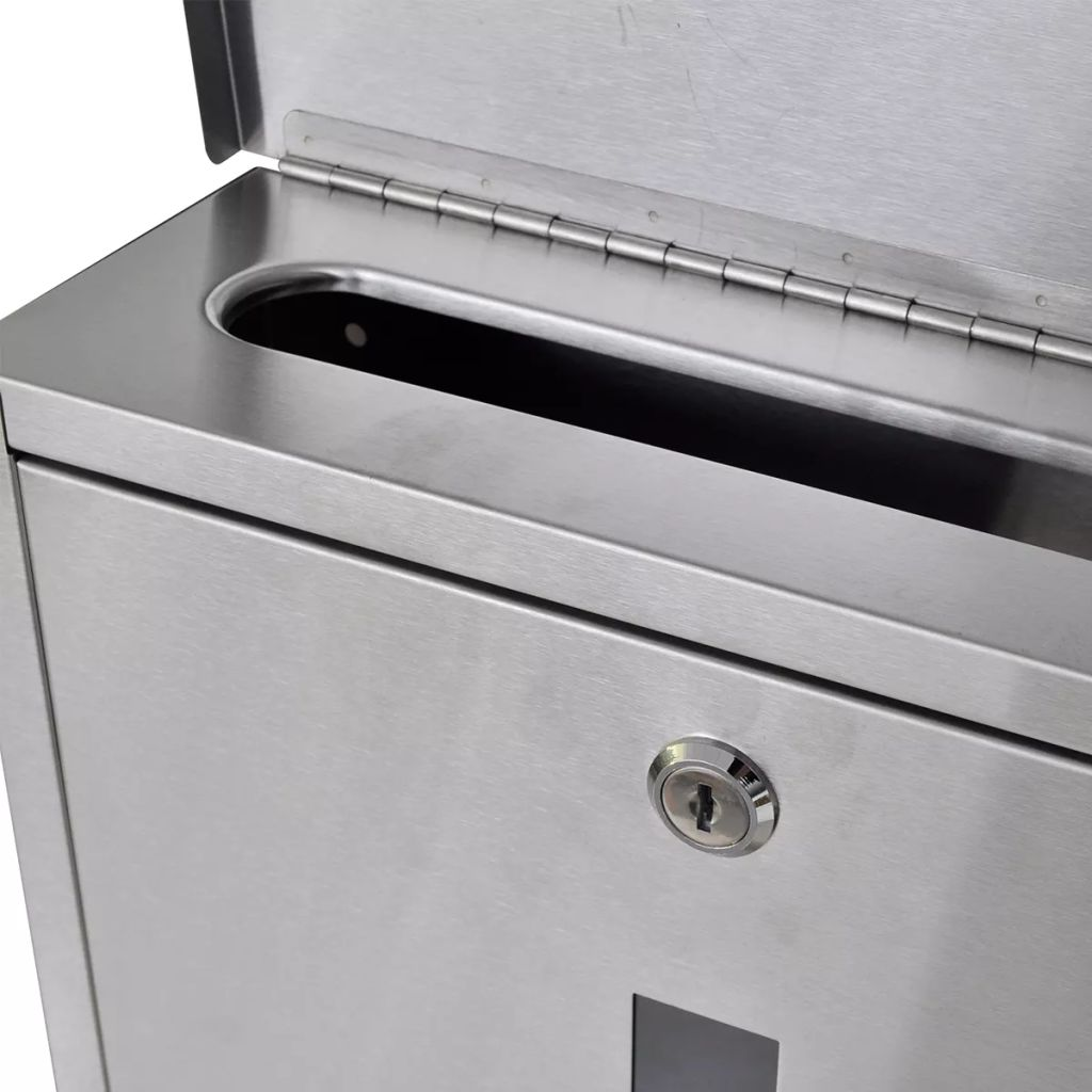 Double Mailbox on Stand Stainless Steel 4