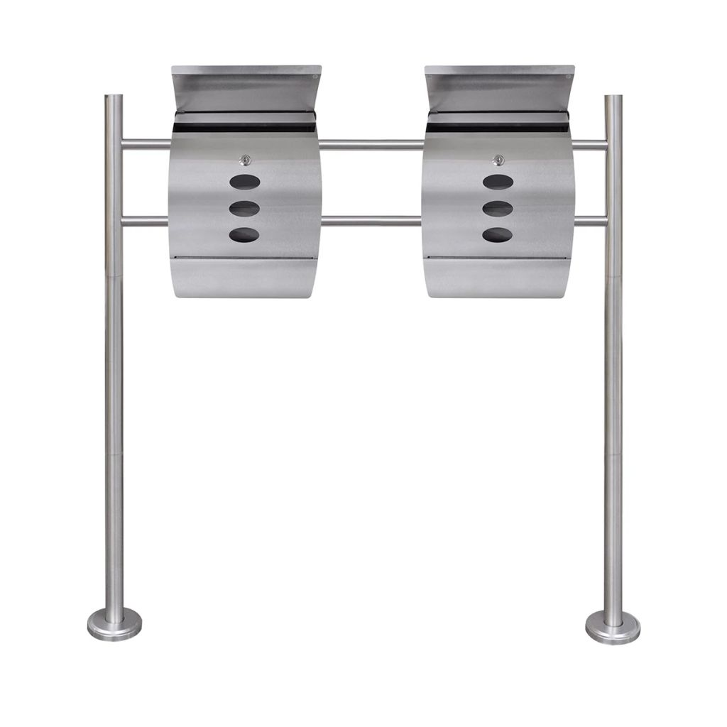Double Mailbox on Stand Stainless Steel 2